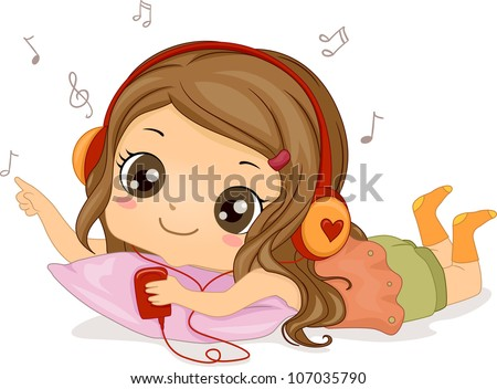 Illustration Featuring a Girl Listening to Music