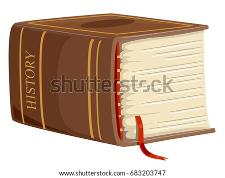 Illustration Featuring a Huge, Yellowed History Book With a Red Tassel Marking One of the Pages