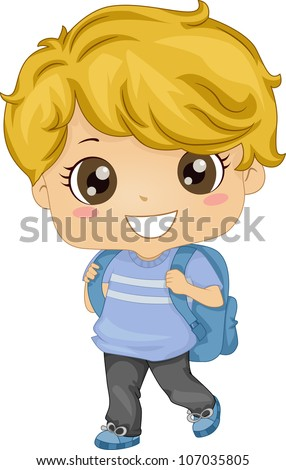 Illustration Featuring a Kid Carrying a Backpack