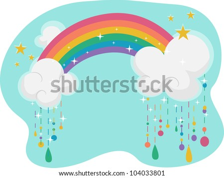 illustration featuring a rainbow