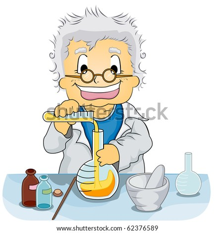 Illustration Featuring a Scientist Experimenting with Chemicals - Vector