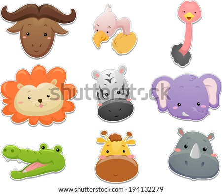 Illustration Featuring a Set of Cute Safari Animals
