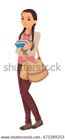 Illustration Featuring a Young Teenage American Indian Student on Her Way to School