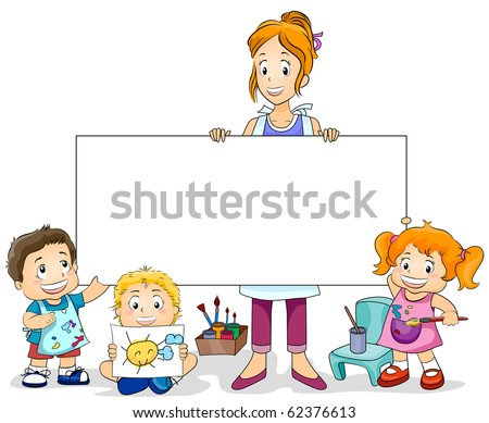 Illustration Featuring an Art Class for Kids and a Blank Board - Vector