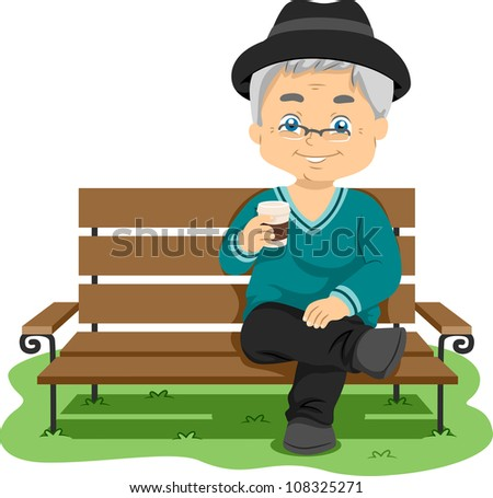 Illustration Featuring an Elderly Man Enjoying His Drink
