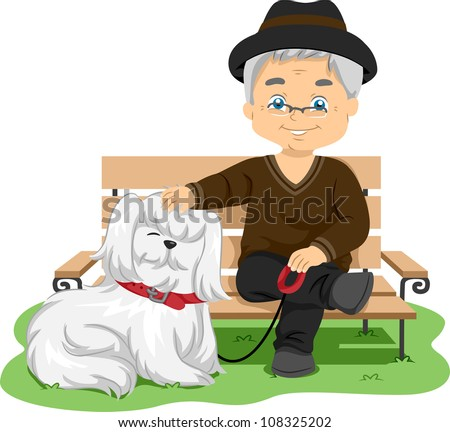 Illustration Featuring an Elderly Man Taking His Dog for a Walk