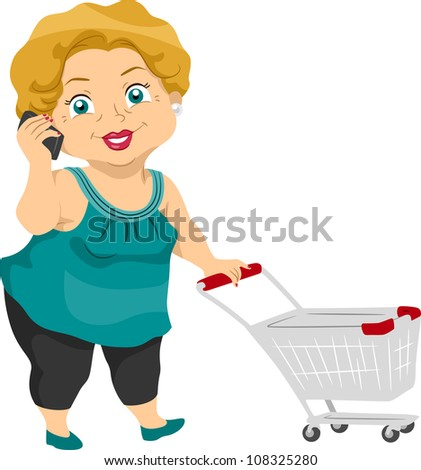 Illustration Featuring an Elderly Woman Out Shopping