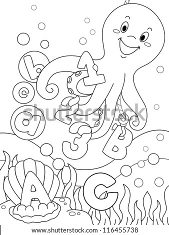 Illustration Featuring an Underwater Coloring Page That Can be Colored
