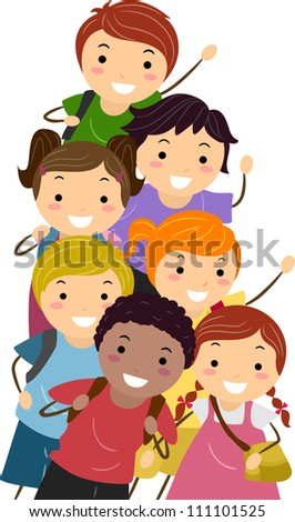 Illustration Featuring Happy and Energetic Kids on Their Way to School
