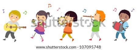 Illustration Featuring Kids in a Music Parade