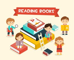 Illustration Featuring Kids Reading Books flat style