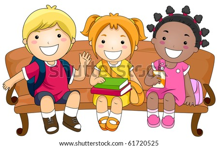 Illustration Featuring Three Cute Little Kids Sitting on a Bench - Vector