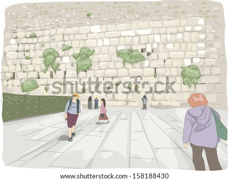 illustration featuring tourists
