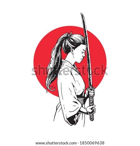 illustration female samurai with swords
