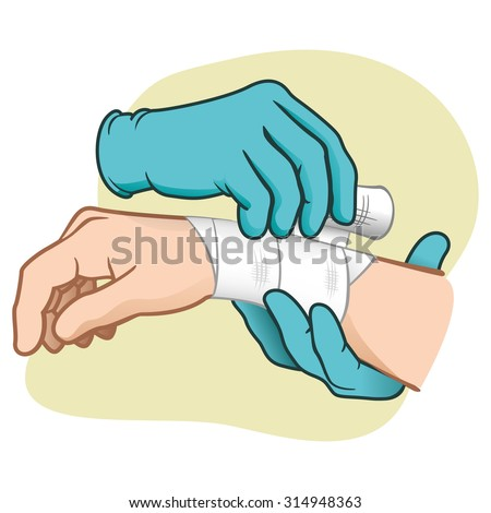 Illustration first aid hands doing dressing bandage. Ideal for medical, informative catalogs and institutional material