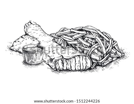 Illustration  fish and chips sketch on vintage background. British cuisine. Street food series. Great for market, restaurant, cafe, food label design.Sketch.