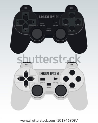 Illustration Flat Design Mock-up Set of Modern Wireless Game Controllers for PC and Console Black and White Vector with Background isolated