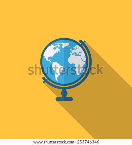 illustration flat icon of globe