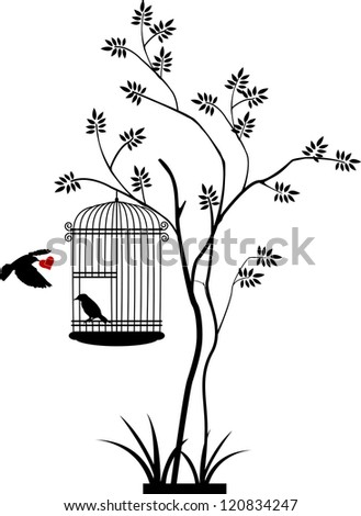 illustration flying birds that bring love to the bird in the cage