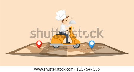 Illustration Food Delivery Chef Ride Motorcycle Service Cute character with map , Order many branches Worldwide Shipping , Fast and Free Transport , food express , vector cartoon shopping online
