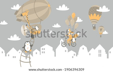 Illustration for a children's room. funny little animals. For photo wallpapers. Foto stock ©