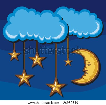 illustration for a crescent moon with stars in night (night sky, stars and month in the night sky)