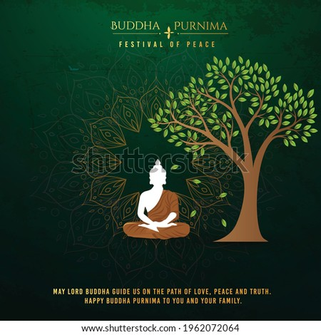 illustration for Buddha Purnima or Vesak Day with nice and creative design, banner, poster, flyer  Foto stock ©