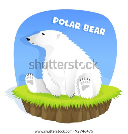 illustration for children - a cute polar bear sitting on grass