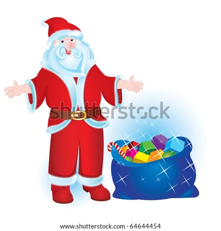 Illustration for Christmas and New Year. Santa Claus. Bag with gifts. Vector - stock vector