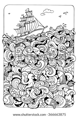 illustration for coloring  sea