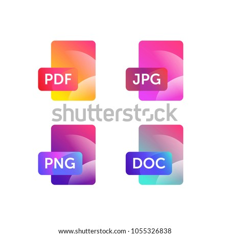 Illustration for expanding formats. File Icons. Vector flat icons with gradient, isolated on white background. Fashionable style. Icons for website and print. Icons of files png, jpg, doc, pdf.