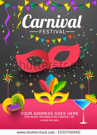 Illustration For Festival Of Carnival Party Poster Or Banner Background.