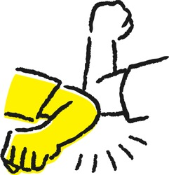 Illustration for greeting. Hit your elbow and your friend's elbow.