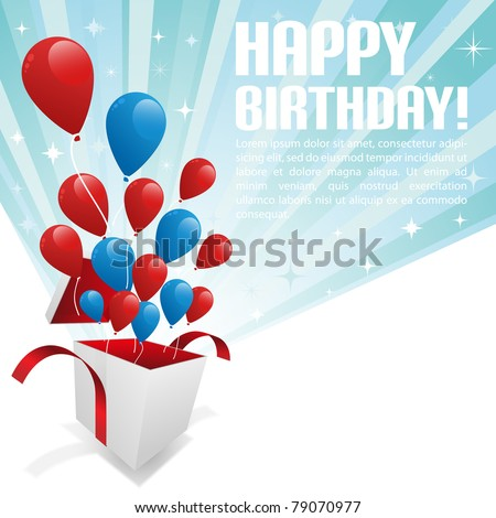 Illustration for happy birthday card with balloons Vector.