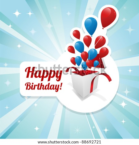 Illustration for happy birthday card with balloons. Vector.