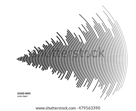 Illustration for sound wave. Black and white color wave.