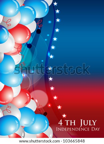 Illustration for 4th of July Independence Day in American Flag colors on stars and balloon background. EPS 10. Vector illustration.