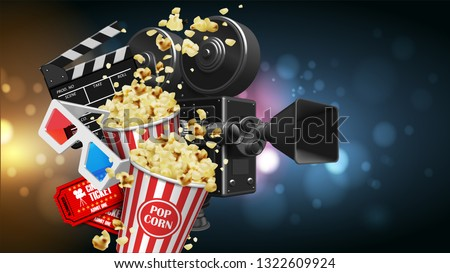 Illustration for the film industry. Popcorn, camera, glasses,  tickets and clapperboard on a background with highlights. Highly detailed illustration. 3D vector. High detailed realistic illustration