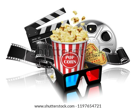 Illustration for the film industry. Popcorn, reel, film and clapperboard  on a white background. Highly detailed illustration