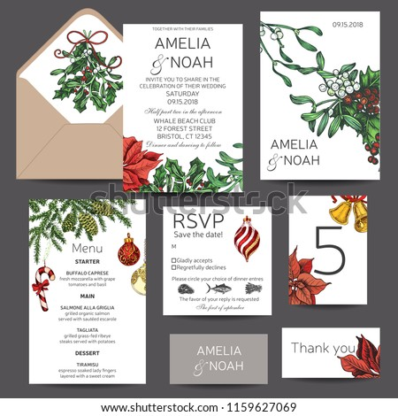 Illustration for the New Year with spruce toys, punch, mistletoe, holly. Wedding invitation for the winter ceremony. Template for the New year banner. Christmas greeting card.