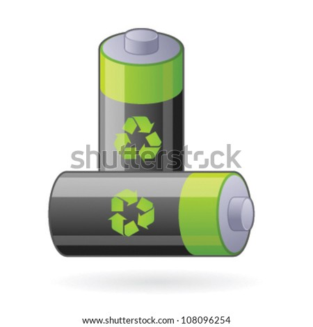 Illustration for two renewable batteries, refer also to environment, new clean energy and future power