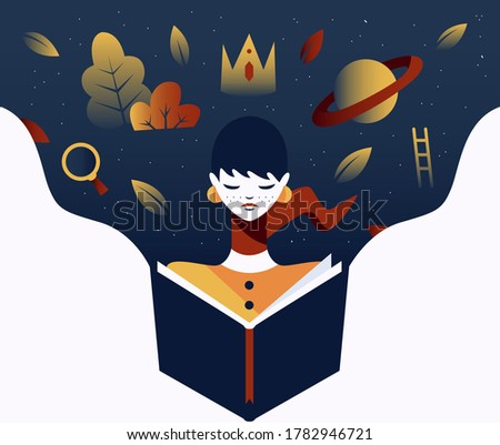 Illustration for World's Book Day. Young woman reading, imagination flowing, stories being told. Minimal work of art for presentations, ecommerce, blogs, corporate, etc. Foto stock ©