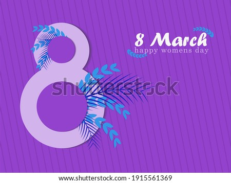 Illustration for world women's day, march 8, on a purple background
