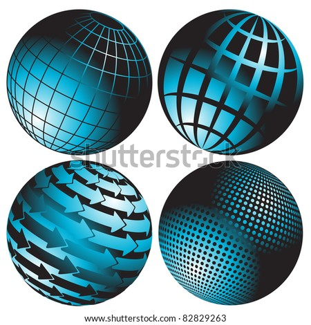 illustration, four abstract blue globes on white background