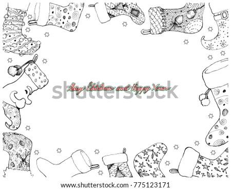 Illustration Frame Of Hand Drawn Sketch Checked Christmas Stockings Hanging On The Air Waiting For