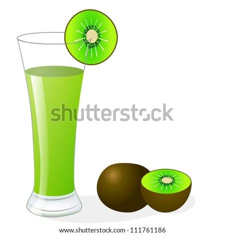 illustration fruit kiwi and glass of juice