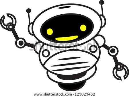 illustration funny robot say hi