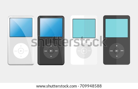 Illustration gadget  set of mp3 music player black and white with realistic and flat design vector  with blank screen