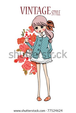 illustration girl flowers pattern