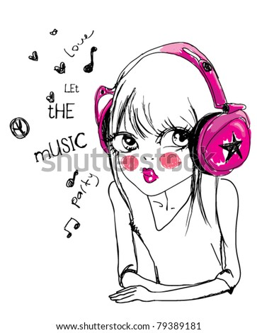 illustration girl listening to music